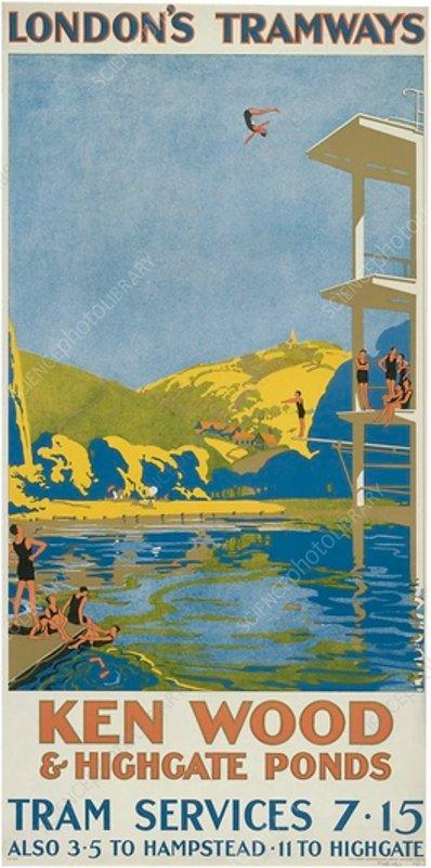 Kenwood and Highgate Ponds, LCC Tramways poster, 1927