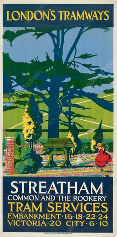 Streatham Common and the Rookery, LCC Tramways poster, 1927