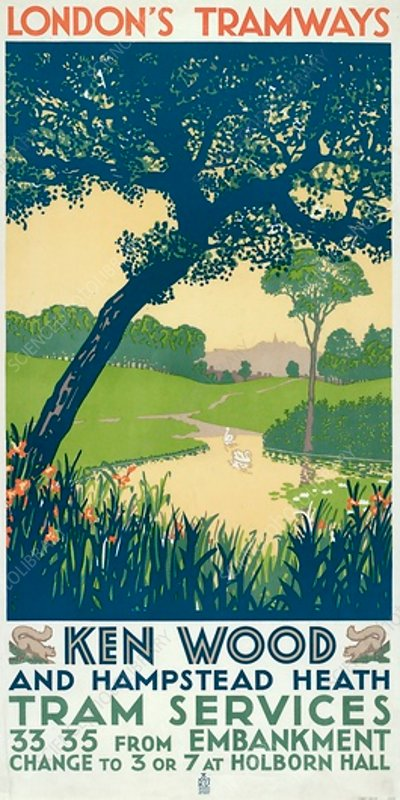 Kenwood and Hampstead Heath, LCC Tramways poster, 1928