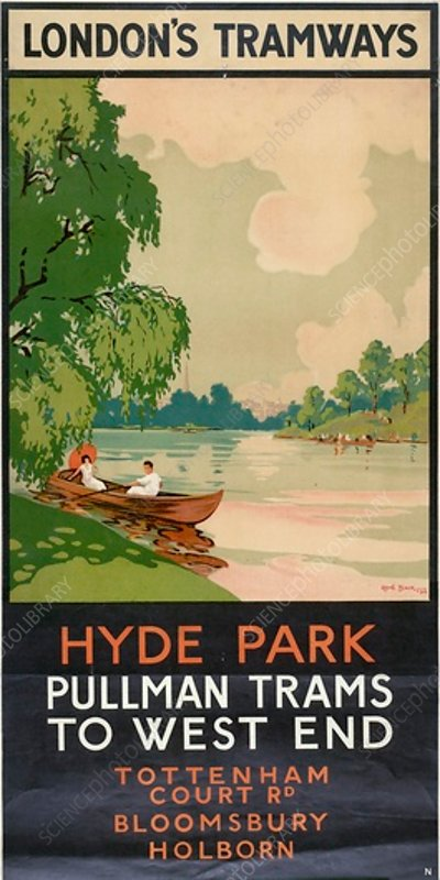 Hyde Park, Pullman Trams to West End, poster, 1930