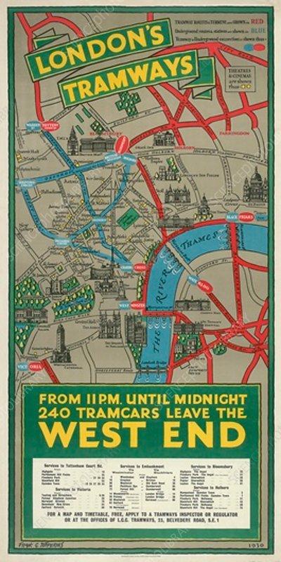 West End Tramways, LCC Tramways poster, 1930