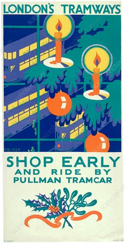 Shop Early and Ride by Pullman Tramcar, poster, 1930