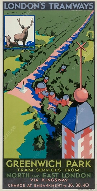 Greenwich Park, London County Council Tramways poster, 1932