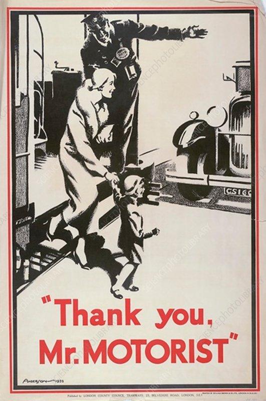 Thank You Mr Motorist, LCC Tramways poster, 1932