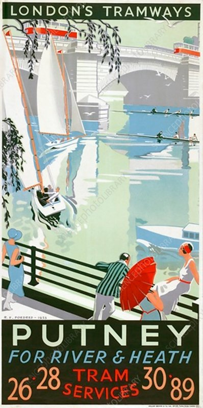 Putney, for River and Heath, LCC Tramways poster, 1932