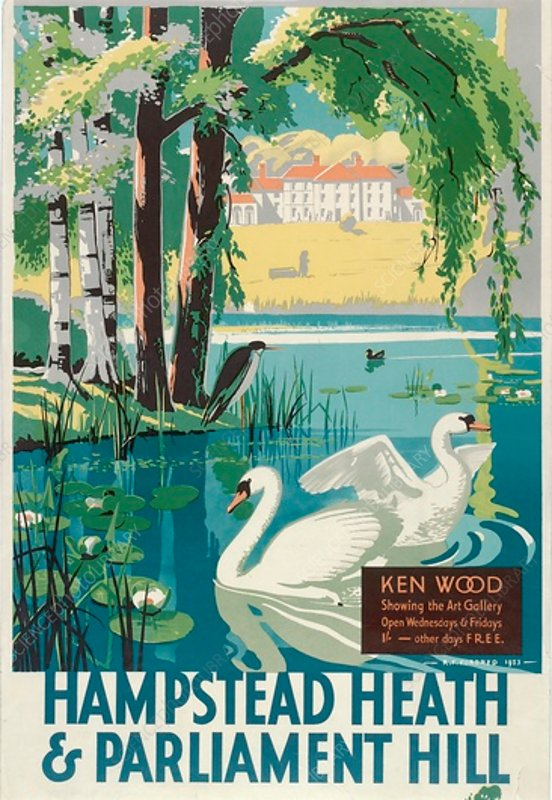 Hampstead Heath and Parliament Hill, poster, 1933