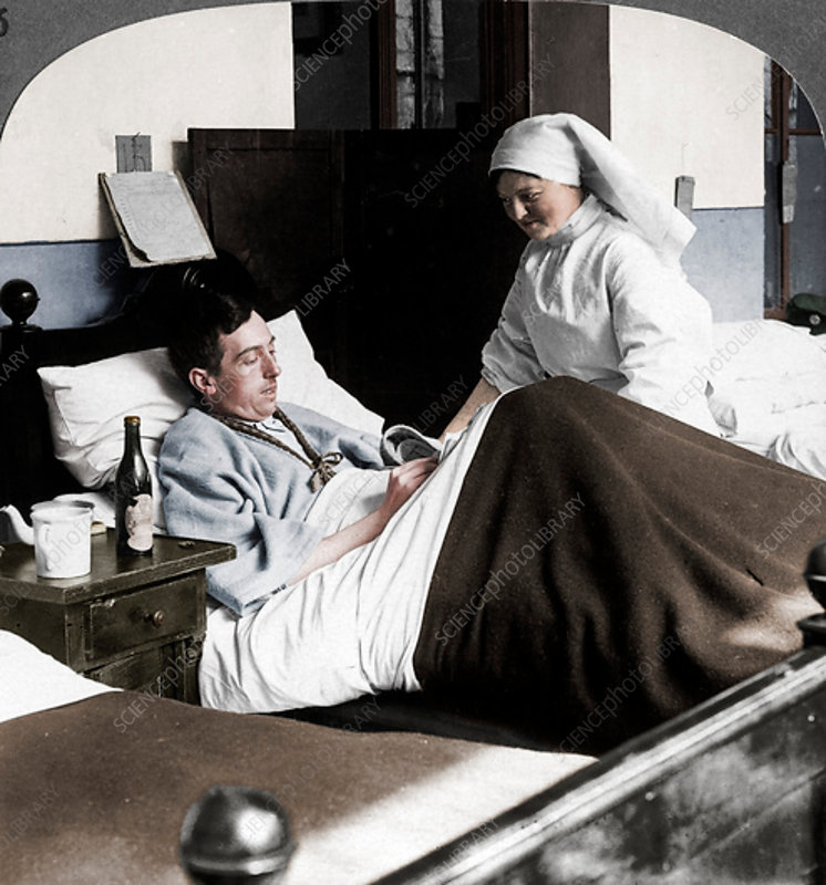 Soldier writing a letter in hospital, World War I, 1914-1918