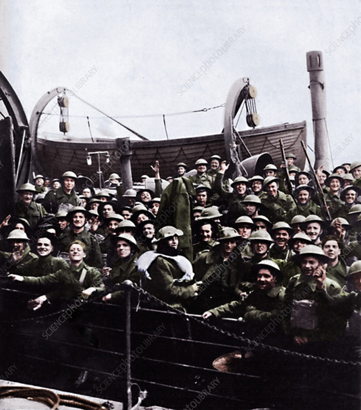 A boat of soldiers rescued from Dunkirk, 1940