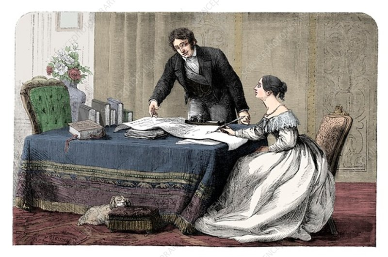 Lord Melbourne instructing a young Queen Victoria, 1837