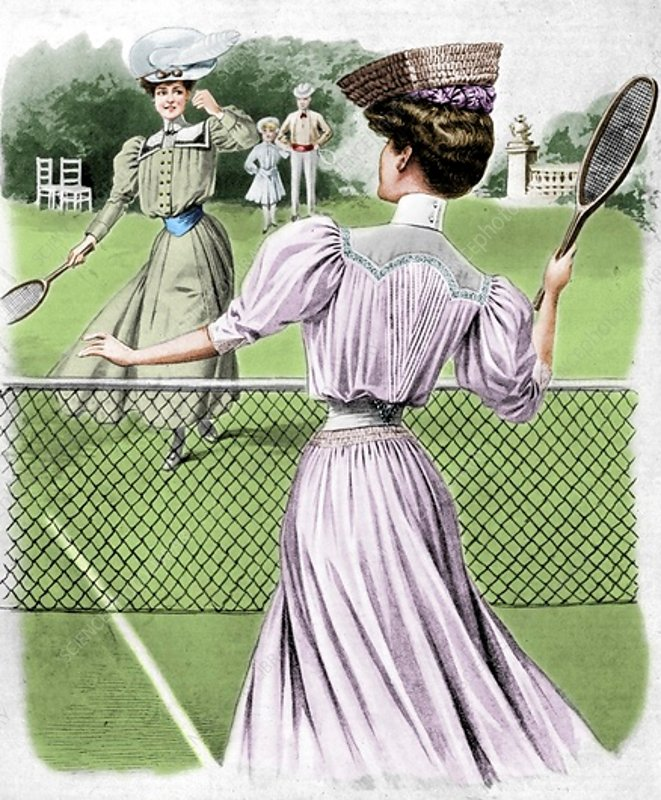 Two lawn tennis costumes for October, 1905