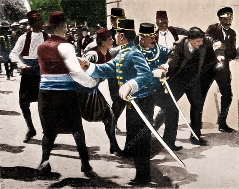 Arrest of assassin of Archduke Franz Ferdinand, 1914