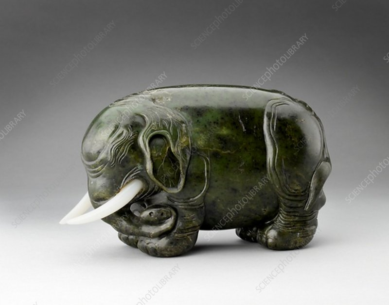 Jade figure of an elephant, 17th-18th century
