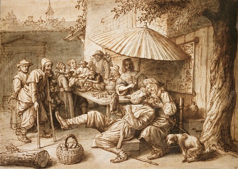 Quack Dentist extracting a Peasant's Tooth, 17th century