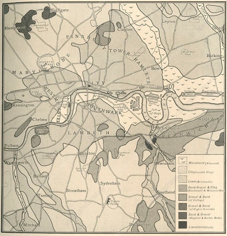 Geological Map of the Site of London, 1908