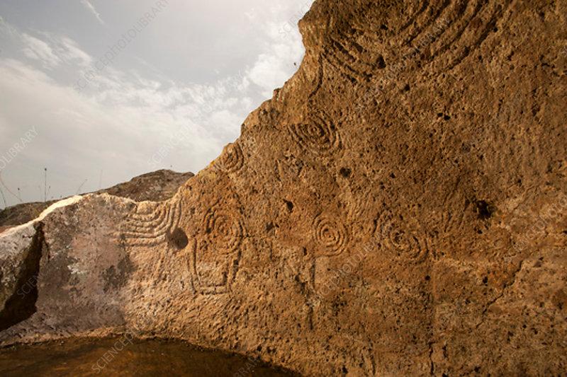 Chamber tomb carvings, Necropolis of Montessu, Sardinia
