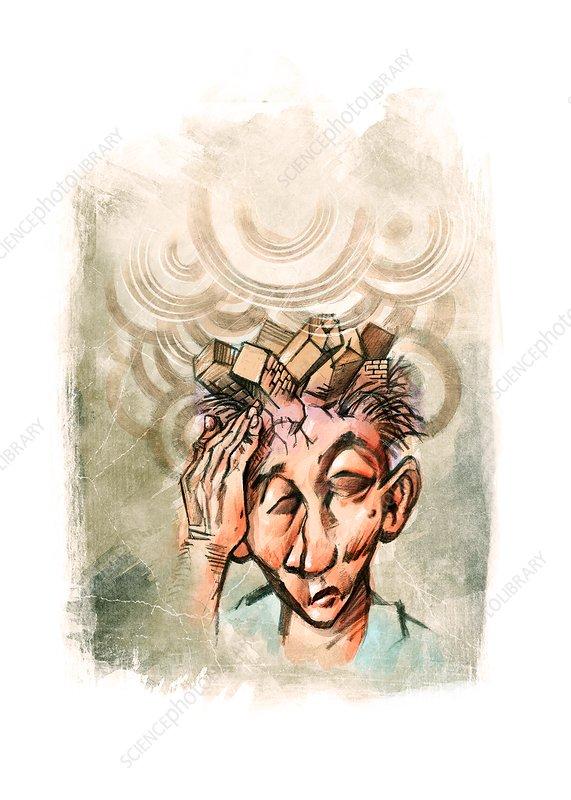 Headache, conceptual illustration