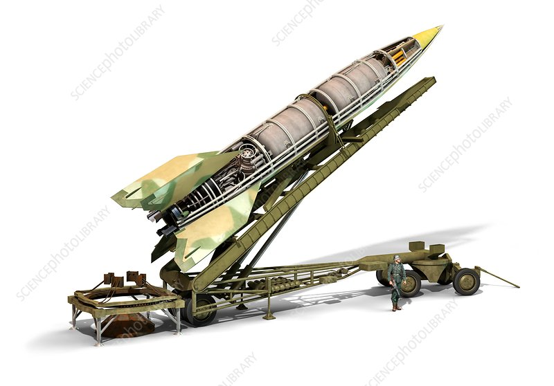 V-2 rocket missile and launcher, illustration