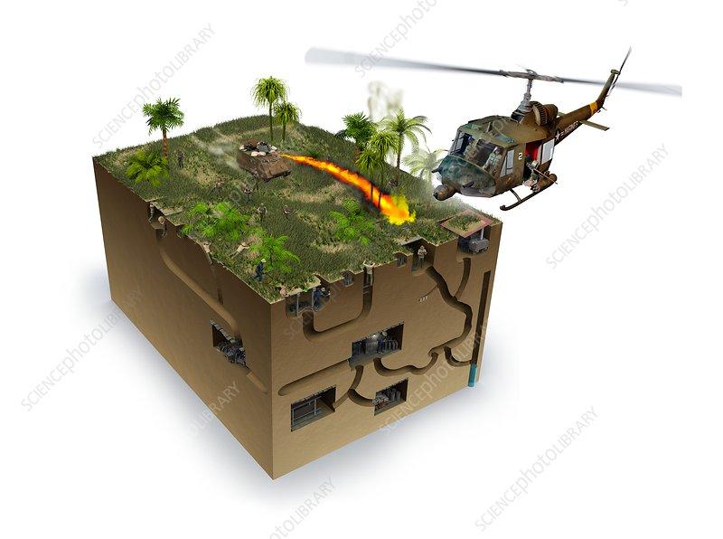 Viet Cong tunnels during Vietnam war, illustration