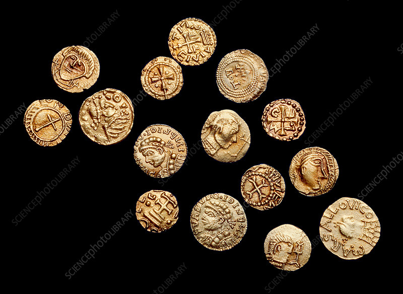 Coins from the Crondall Hoard, 7th century