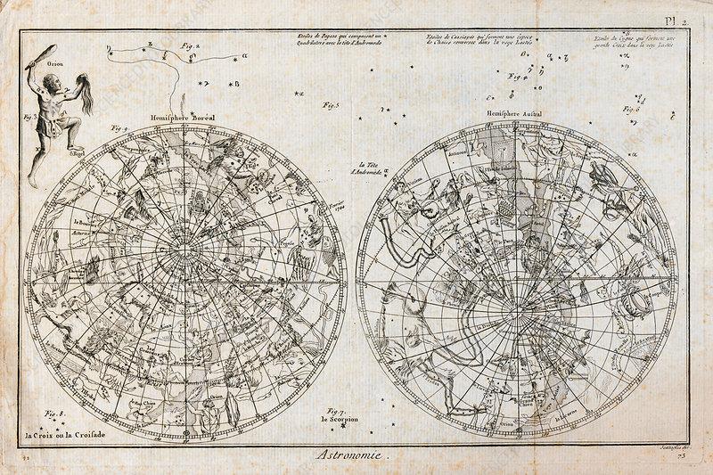 Celestial hemispheres, 18th century