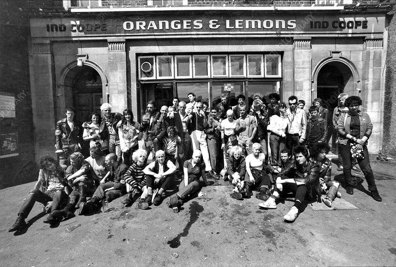 Punks outside an Oxford pub, 1980