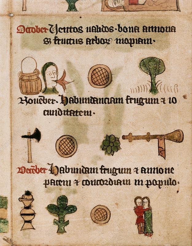 Astrological calendar details, 14th century