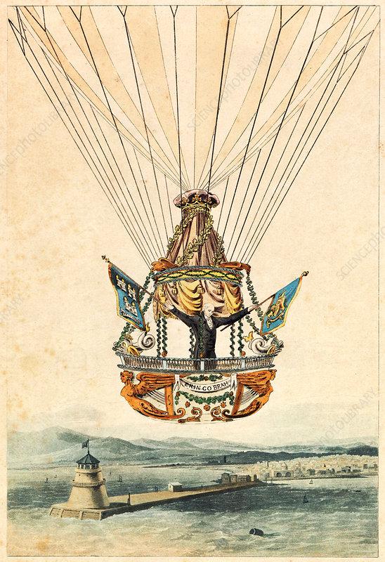 Balloonist James Sadler over the Irish Channel, 1812