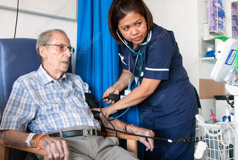 Elderly patient having his blood pressure measured
