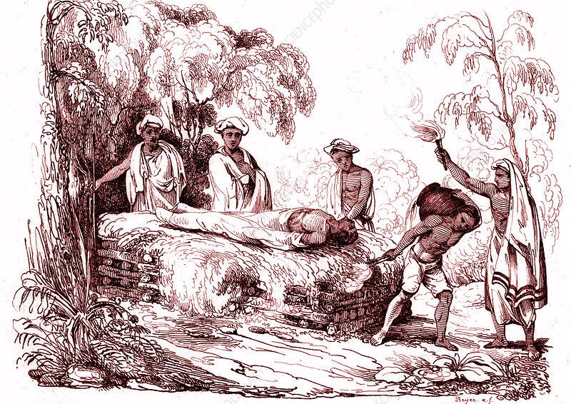Hindu cremation ceremony, 18th century