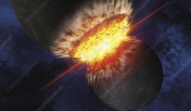 Collision of planets, illustration