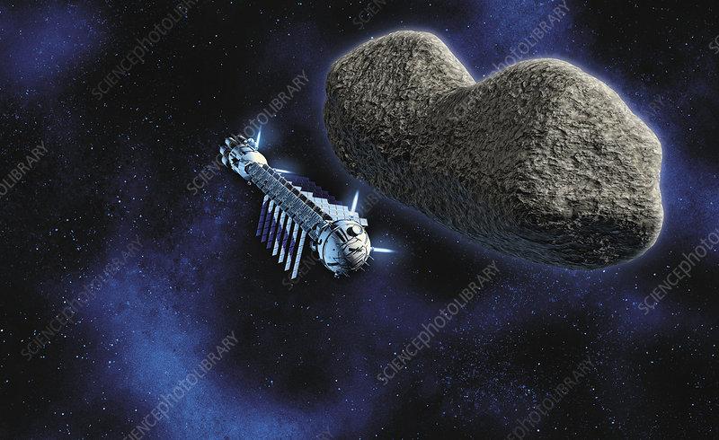 Deflecting an asteroid threatening Earth, illustration