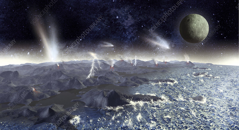 Early Earth and Moon, illustration