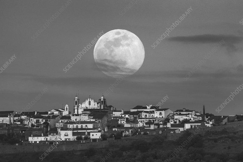 Full Moon over Portuguese village
