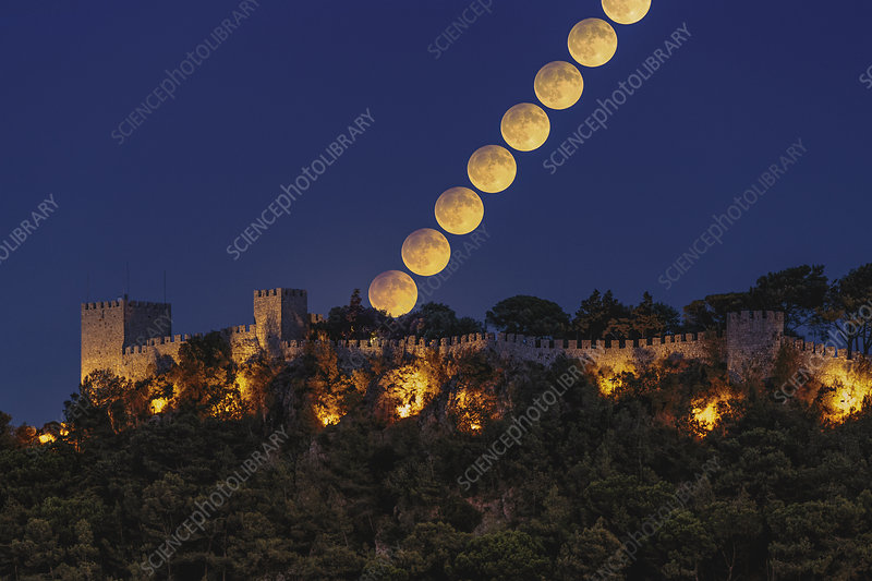Harvest Moon over castle, time-lapse image