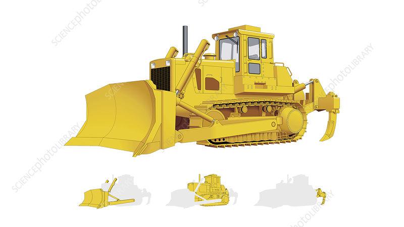 Bulldozer general view, Illustration