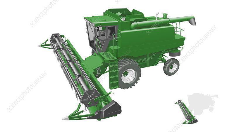 Header of the combine harvester, Illustration