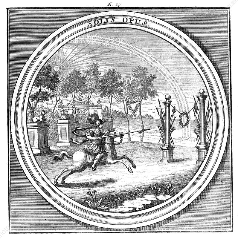 Meteorologia, Rainbow and Laurel Wreath, 1709