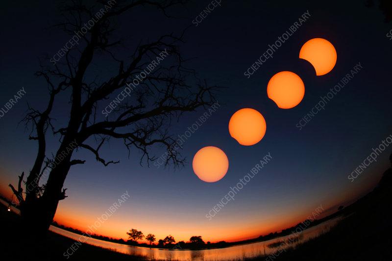 Partial solar eclipse sequence