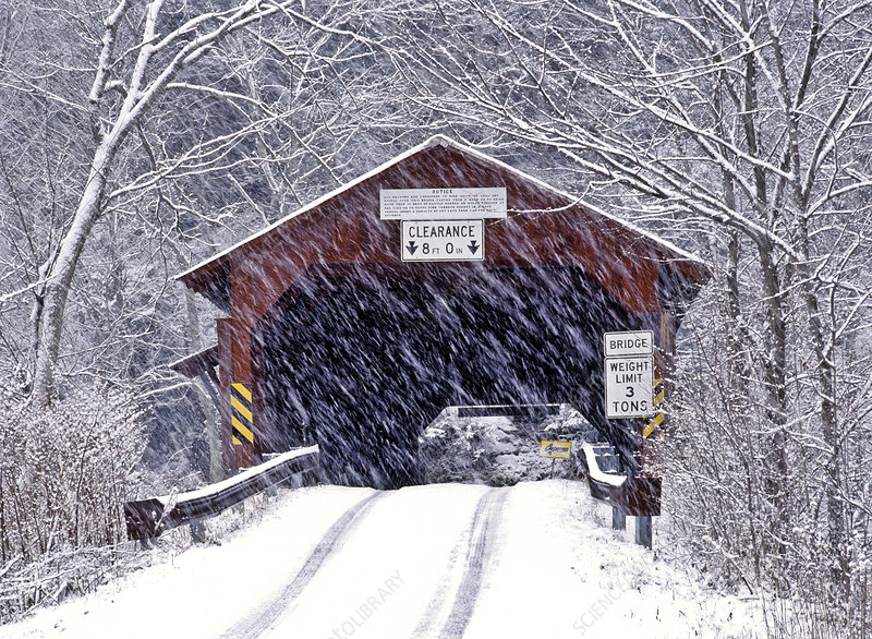 Covered Bridge in a snowstorm