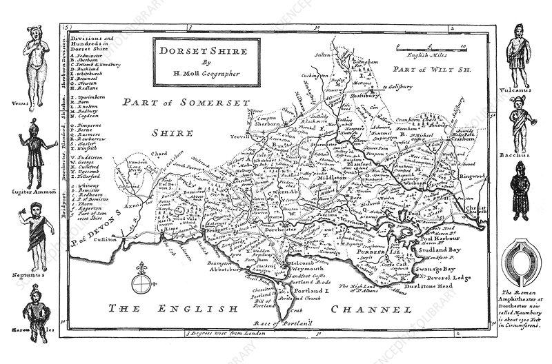 Herman Moll, Dorset, 1724