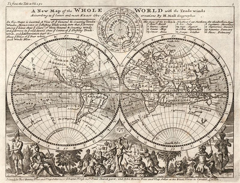 Herman Moll, World Map, 1729