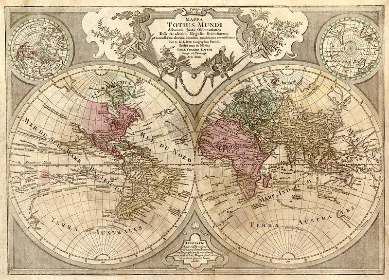 Guillaume Delisle, World Map, 1775