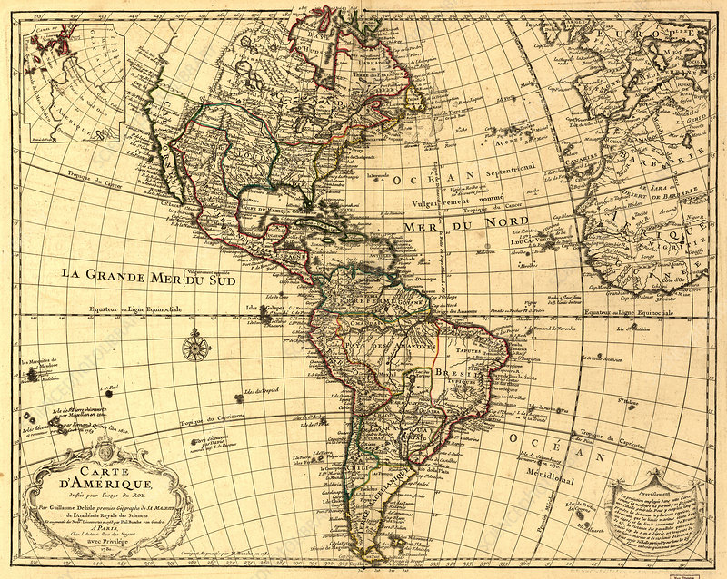 Guillaume Delisle, The Americas Map, 1780