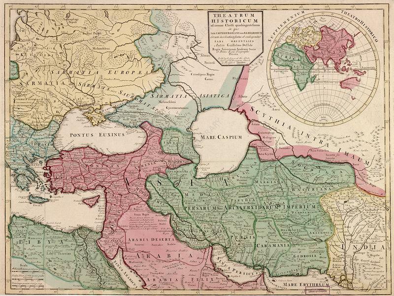 Guillaume Delisle, Eastern Roman Empire Map, 400 AD