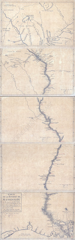 Guillaume Delisle, Mississippi River Map, 1702