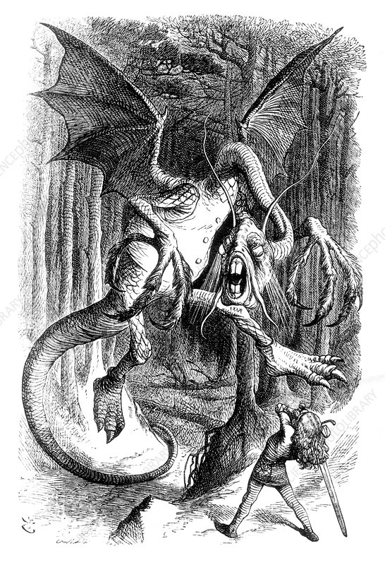 Through the Looking-Glass, Alice Battles the Jabberwock