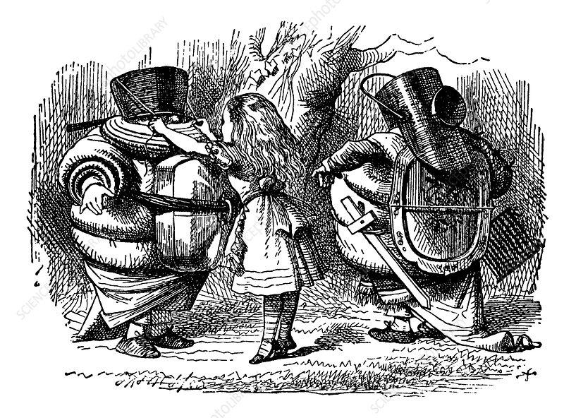 Alice Helps Tweedledee and Tweedledum Prepare for Battle