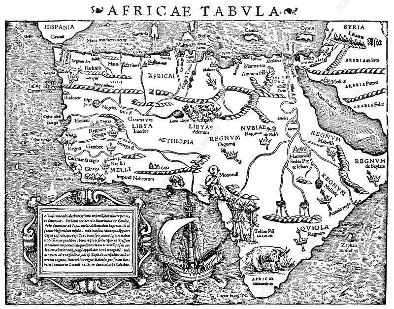 Sebastian Munster, Africa Map, 1550