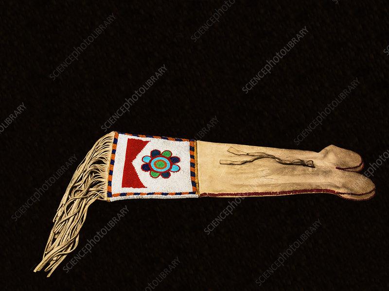 Beaded Animal Hide Pipe Bag, Plains Indian