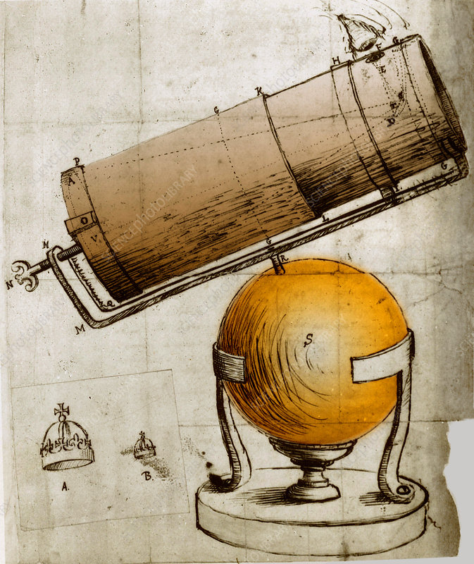 Reflecting Telescope, Invented and Drawn by Newton